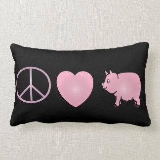 """ピンクの平和、愛、ブタ、腰神経の枕13"""" x 21 """" ランバークッション"""