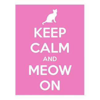 ピンクの平静そして猫の鳴き声を保って下さい ポストカード