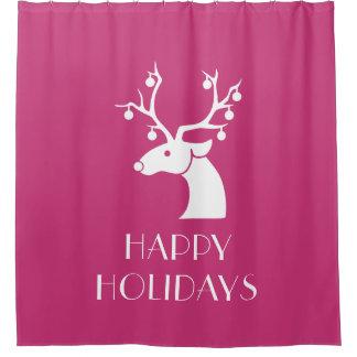 ピンクの幸せな休日のクリスマスのトナカイ シャワーカーテン