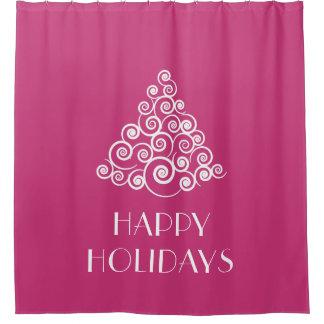 ピンクの幸せな休日のクリスマスツリー シャワーカーテン