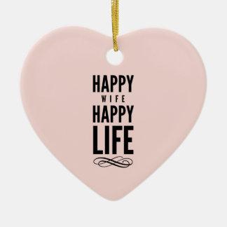 ピンクの幸せな妻の幸せな生命発言 セラミックオーナメント
