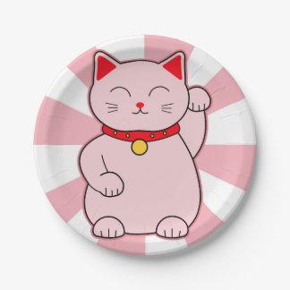 ピンクの幸運な猫 ペーパープレート
