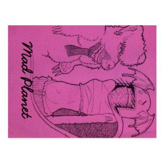 ピンクの幽霊の女の子はくまを怒り、 ポストカード