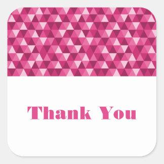 ピンクの幾何学的な三角形はステッカー感謝していしています スクエアシール