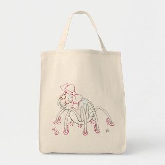 ピンクの弓およびかかとを身に着けているくもをうろついて下さい トートバッグ