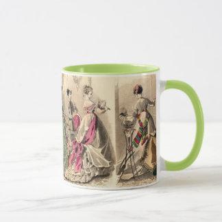 ピンクの弓が付いているビクトリアンな服 マグカップ