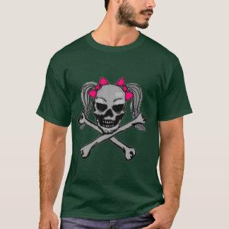 ピンクの弓が付いているポニーテールのスカル Tシャツ
