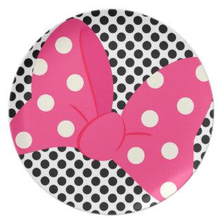 ピンクの弓ガーリーなプレート プレート