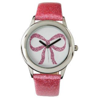 ピンクの弓グリッターの腕時計 腕時計