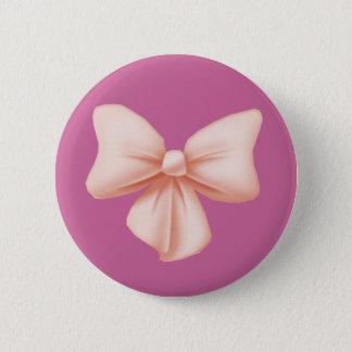 ピンクの弓ボタン 5.7CM 丸型バッジ