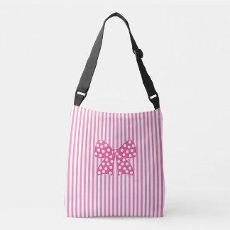 ピンクの弓、点、ピンクのストライプ クロスボディトートバッグ