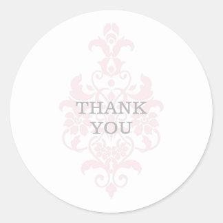 ピンクの微妙なダマスク織はステッカー感謝していしています ラウンドシール