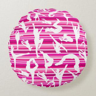 ピンクの応援のシルエットの円の枕 ラウンドクッション