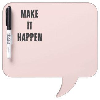 ピンクの感動的それを起こらせます ホワイトボード