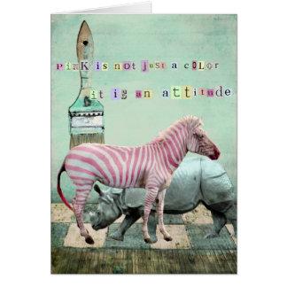 ピンクの態度動物 カード