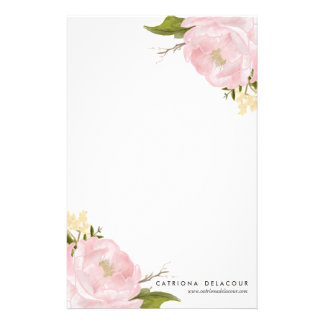 ピンクの手描きの水彩画のシャクヤクの文房具 便箋