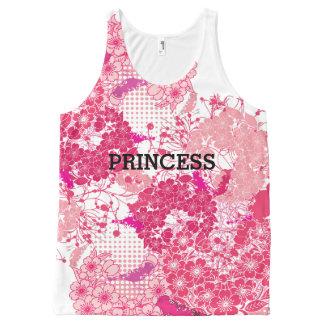 ピンクの抽象的な桜の桜 オールオーバープリントタンクトップ