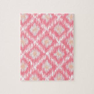 ピンクの抽象的な種族のイカットのシェブロンのダイヤモンドパターン ジグソーパズル