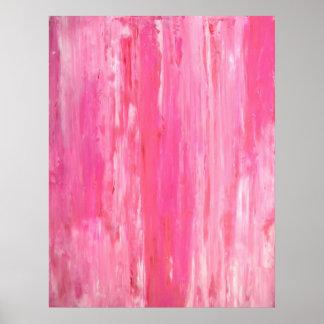 ピンクの抽象美術ポスタープリントを「傾けました」 ポスター