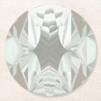 ピンクの抽象芸術の氷った白 ラウンドペーパーコースター