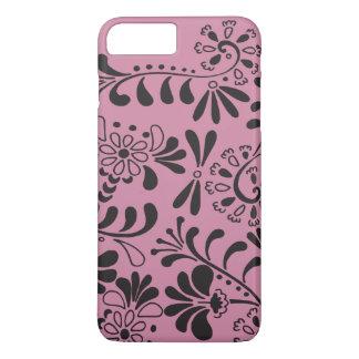 ピンクの抽象芸術の花の黒 iPhone 7 PLUSケース