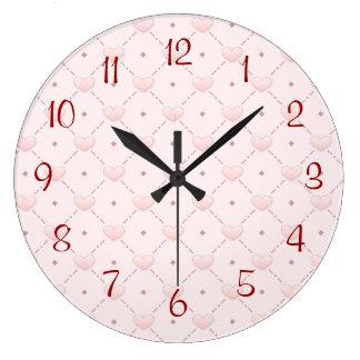 ピンクの斜めパターンピンクキャンデーのハート ラージ壁時計