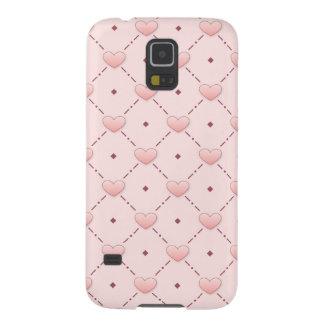 ピンクの斜めパターンピンクキャンデーのハート GALAXY S5 ケース