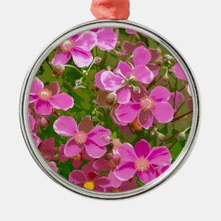 ピンクの日本のアネモネの花 メタルオーナメント