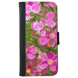 ピンクの日本のアネモネの花 iPhone 6/6S ウォレットケース