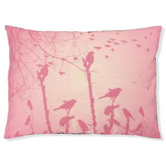 ピンクの日没の素晴らしい鳥 ペットベッド