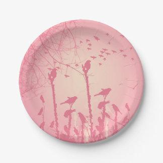 ピンクの日没の鳥 ペーパープレート
