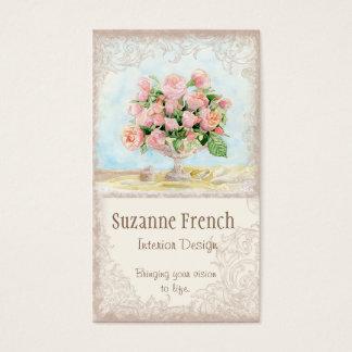 ピンクの旧式なヴィンテージのエレガントで物惜しみしなくフランスのなバラ 名刺