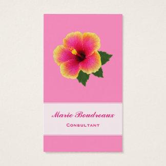 ピンクの明るいハイビスカス 名刺