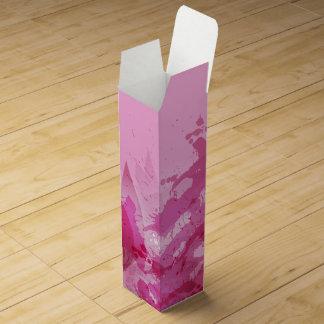 ピンクの明るい赤紫色の抽象芸術の水彩画パターン ワインギフトボックス