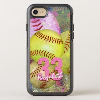 ピンクの明るい黄色女性のソフトボール オッターボックスシンメトリーiPhone 8/7 ケース