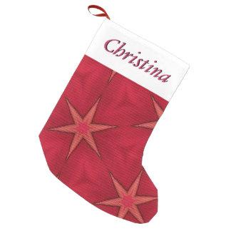 ピンクの星のクリスマスのストッキング及びカスタマイズ可能な名前 スモールクリスマスストッキング