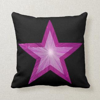 ピンクの星の黒の装飾用クッションの正方形 クッション