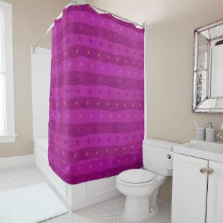 ピンクの星パターン シャワーカーテン