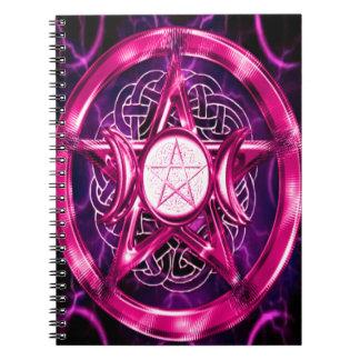 ピンクの星形五角形のアートワーク ノートブック