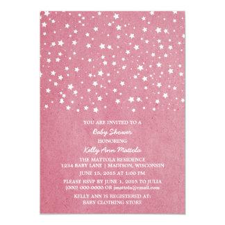 ピンクの星明かりの夜ベビーシャワーの招待 カード