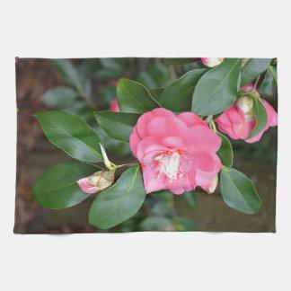 ピンクの春のシャクヤクの花 キッチンタオル