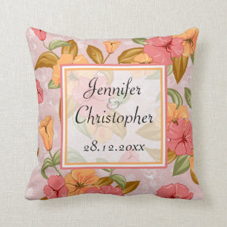 ピンクの春の花の結婚式の想い出の品 クッション