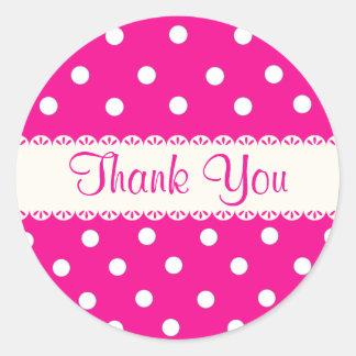 ピンクの暗い赤紫色及び白い水玉模様のステッカーありがとう ラウンドシール