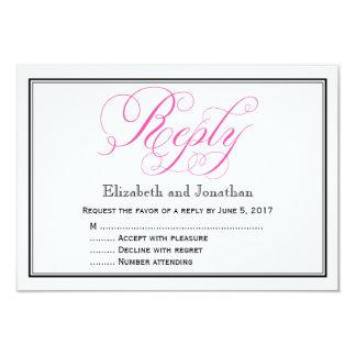 ピンクの書道の原稿の結婚式の応答カード カード