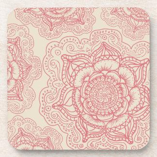 ピンクの曼荼羅パターン コースター