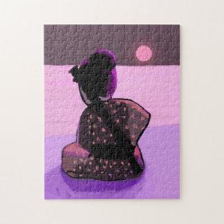 ピンクの月光の孤独な武士 ジグソーパズル