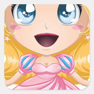 ピンクの服のブロンドのプリンセス スクエアシール