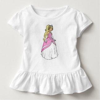 ピンクの服の幼児のひだのティーのプリンセス トドラーTシャツ