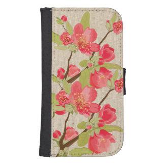 ピンクの木の花及びSamsungのリネンウォレットケース ウォレットケース