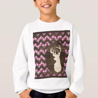ピンクの木製のシェブロンのシカの木びき台 スウェットシャツ